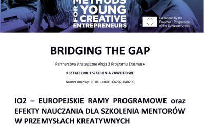 BtG: Europejskie ramy programowe orazefekty nauczania dla szkolenia mentorów wprzemysłach kreatywnych